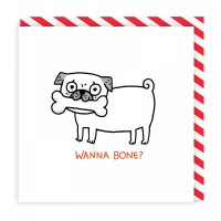 Wanna Bone Pug Blank Card By Gemma Correll