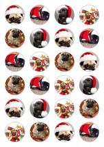 24 Pug Christmas Edible Cupcake Toppers