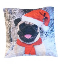 Christmas Santa Pug Cushion Cover
