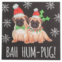 Pug Puppy Christmas Napkins Pack Of 10