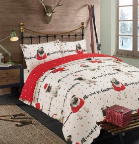 Single Pug All I Want for Christmas Duvet Set