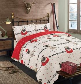 King  Pug All I Want for Christmas Duvet Set