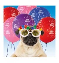 Pug Party Balloon Birthday Card