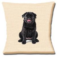 Cute Black Pug Cushion Cover