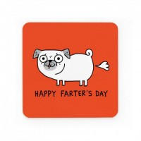 Happy Father's Day Pug Coaster By Gemma Correll
