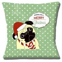 Christmas Pug Cushion Cover