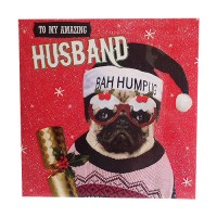 Husband Bah Hum Pug Christmas