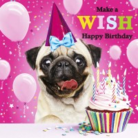 Make A Wish Pug Birthday Card