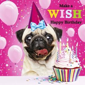 Make A Wish Pug Birthday Card