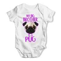 My Big Brother Is A Pug Baby Grow (Available in 3 colours)
