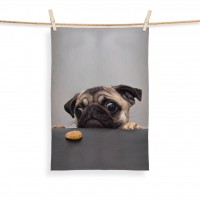 Naughty Pug Cookie Tea Towel