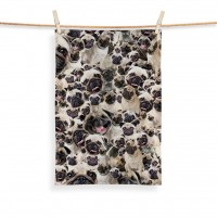 Pug Face Printed Tea Towel