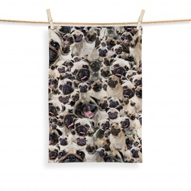 Pug Face Printed Tea Towel