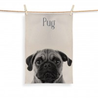 Pug Face Tea Towel (Available in 2 colours)