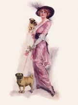 Vintage Lady & Her Pugs Blank Card