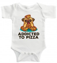 Funny Addicted To Pizza Pug Babygrow (Size 0-24 months)