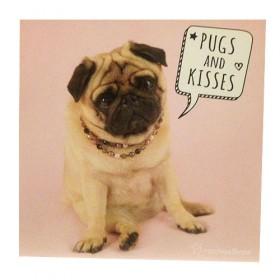 Cute Pugs & Kisses Birthday Card