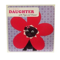 Black Pug Daughter Birthday Card