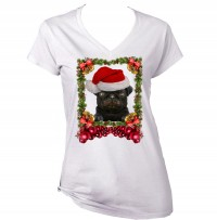 Ladies Black Pug Puppy Christmas T-Shirt