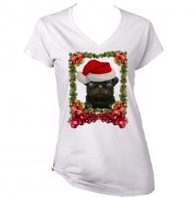 Ladies Black Pug Puppy Christmas T-Shirt