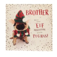 Elf Pug Brother Christmas Card