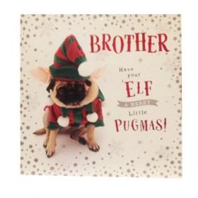 Elf Pug Brother Christmas Card