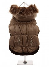 Brown Luxury Quilted Parka with Detachable Hood