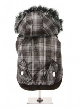 Urban Pup Brown Checked Parka with Detachable Hood