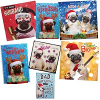Family Pack Pug Christmas Cards Worth £16