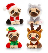 Christmas Pug Plush  Soft Toy (Available in 4 characters)