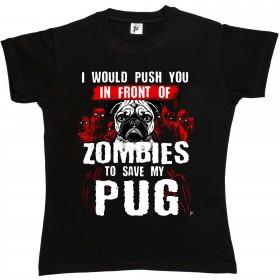 Ladies Funny Pug Zombie T-Shirt