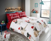 Merry Pugmass King Size Christmas Duvet Set