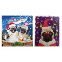 Mum & Dad Pug  Christmas Card & Large Gift Bag Offer