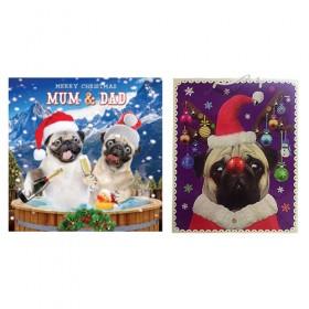 Mum & Dad Pug  Christmas Card & Large Gift Bag Offer