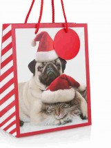 Pug & Cat Medium Sized Christmas Gift Bag