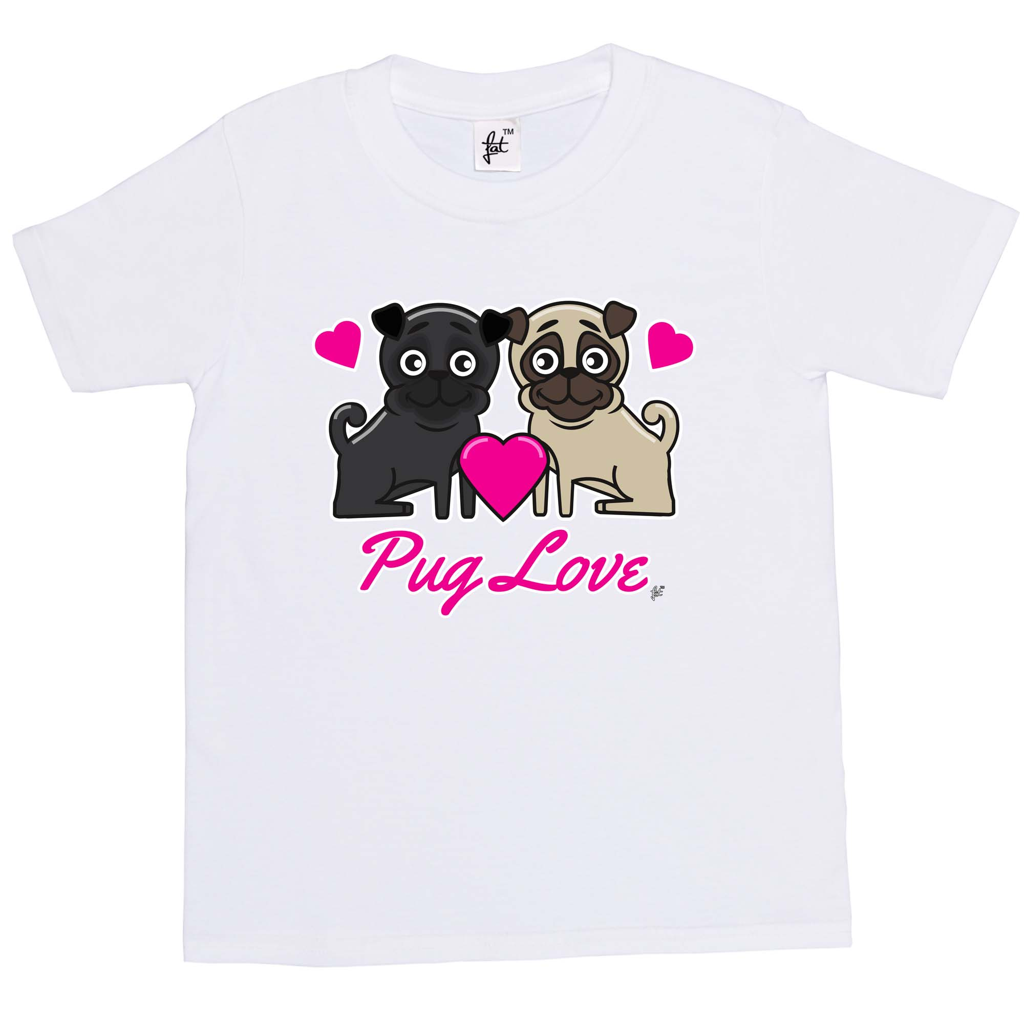 Kid S Pug Love T Shirt Available In 5 Colours I Love Pugs