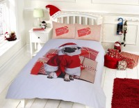 Double Santa Pug Christmas Duvet Set