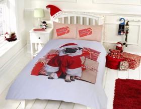 Santa Pug Christmas King Size Duvet Set