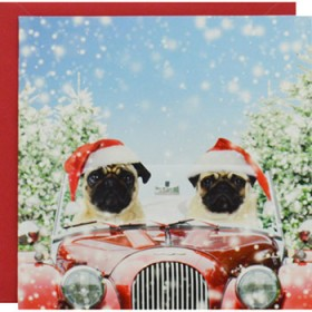 Two Santa's Driving Home For Christmas Card