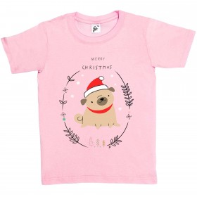Kids Happy Pug Christmas T-Shirt (Available in 5 colours)