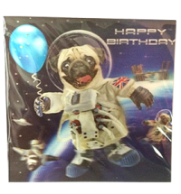 3D Space Pug Birthday Card