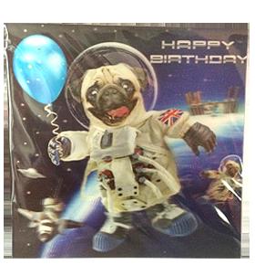 3D Space Pug Birthday Card