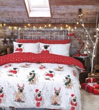 Double Pug Printed Christmas Duvet Set