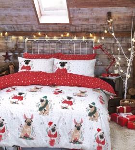 Double Pug Printed Christmas Duvet Set
