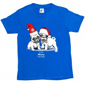 Kids Cute & Festive Pug Christmas T-shirt (Available in 3 colours)