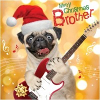 Luxury Pug Brother Christmas Card
