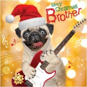 Luxury Pug Brother Christmas Card