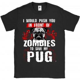 Mens Funny Pug Zombie T-Shirt