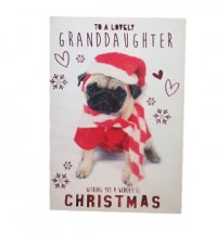 Granddaughter  Pug Christmas Card