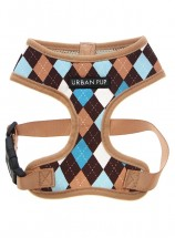 Urban Pup Beige & Blue Argyle Puppy Harness & Lead Set
